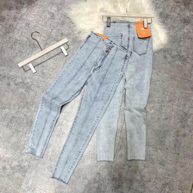 Quần Jeans Nữ Gân Lưng Cao 2 Nút