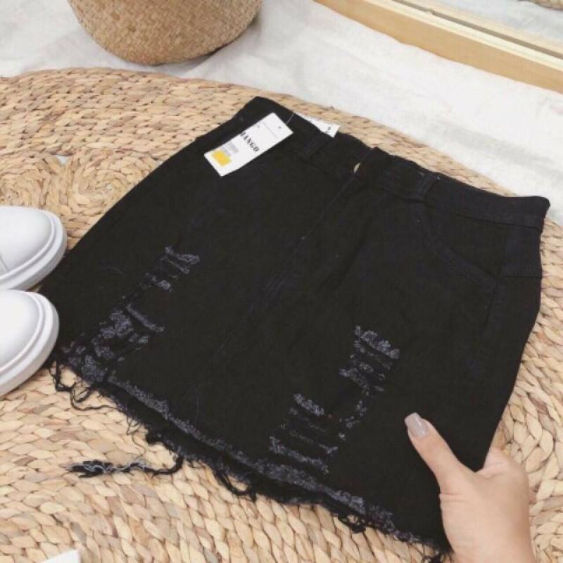 Chân Váy Jean Rách 2 Màu Trắng và Đen