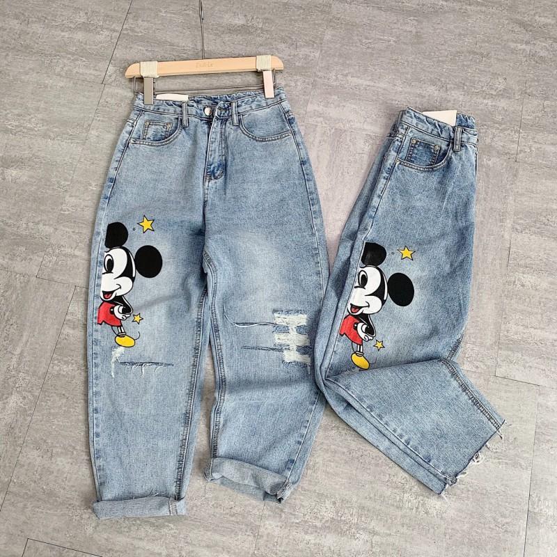 Quần Baggy Jeans Rách In Hình Mickey Năng Động Cá Tính
