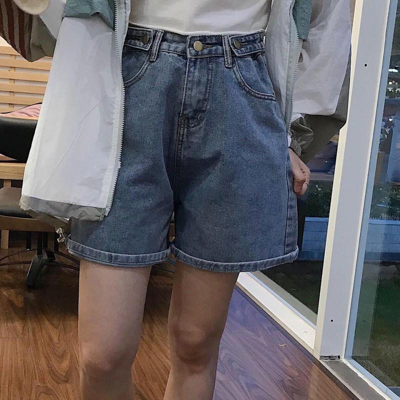 Quần Short Jean Ống Rộng Nút Hông Ulzzang Cực Chất