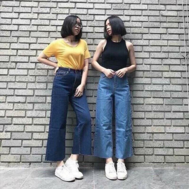 Quần Jeans Ống Rộng Rách Gấu Xanh Đậm Nhạt