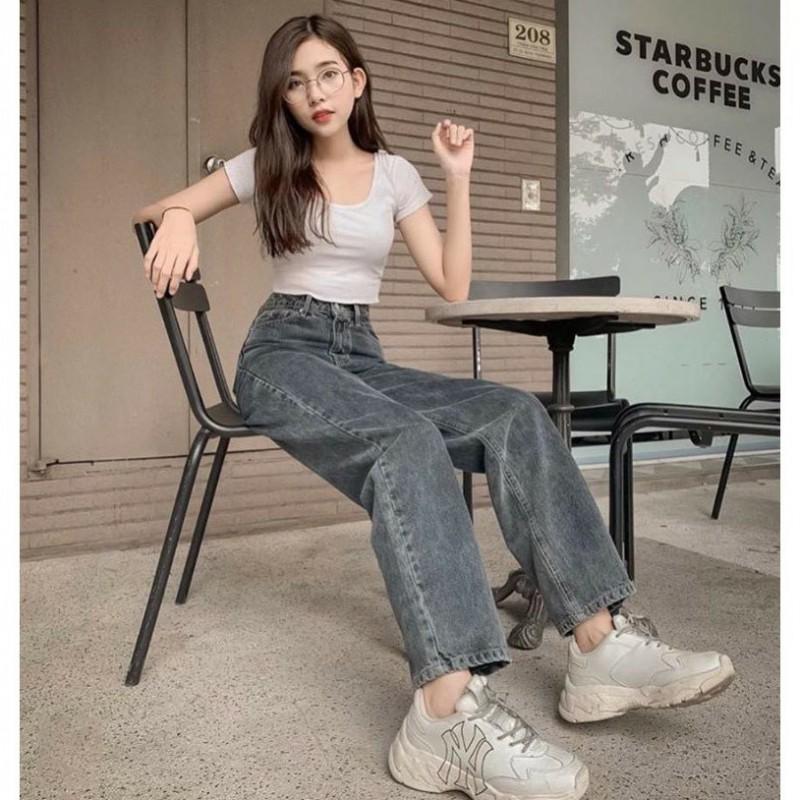 Quần Jeans Ống Suông Rộng Màu Xám Khói Trơn Và Rách
